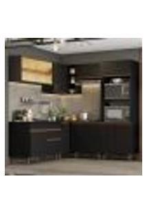Cozinha Completa De Canto Madesa Reims 402001 Com Armário E Balcão - Preto