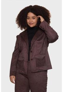 Blazer Suede Nobre Plus Size Passy Feminino - Feminino-Marrom