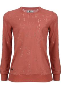Blusa Manga Longa Det Destroyed Terracota