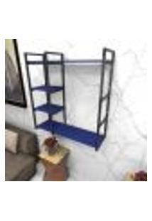 Estante Estilo Industrial Sala Aço Cor Preto 90X30X98Cm (C)X(L)X(A) Cor Mdf Azul Modelo Ind44Azsl