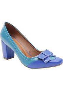 14af66b93 ... Sapato Tradicional Em Couro Com Laço- Azul Turquesa & Azle Rossi