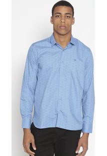 Camisa Slim Fit Com Poã¡ & Bordado- Azul & Vermelha- Opthy