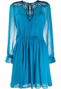 Alberta Ferretti Pleated Mini Dress - Azul