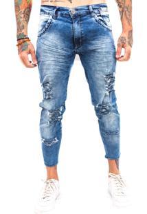 Calça Rich Young Destroyed Rasgada Capri Jeans Azul