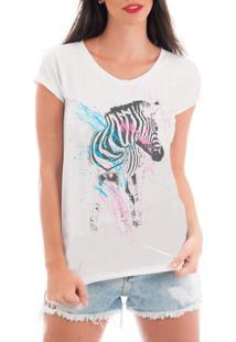 Camiseta Criativa Urbana Rendada Zebra Artística Branco