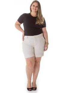 Bermuda Feminina Casual De Alfaiataria Plus Size - Feminino-Bege