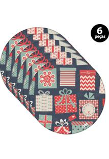 Capa Para Sousplat Mdecore Natal Presente Azul 6Pçs