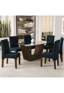 Sala De Jantar Kappesberg Alecrim 6 Cadeiras Walnut E Azul Marinho
