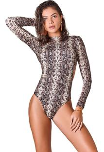 Body Sleevy Estampa Snake Multicolorido