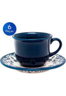 Conjunto De Xícaras Para Chá Com Pires 6 Peças Floreal Energy - Oxford - Branco / Azul