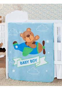 Cobertor Infantil Para Bebê - Azul