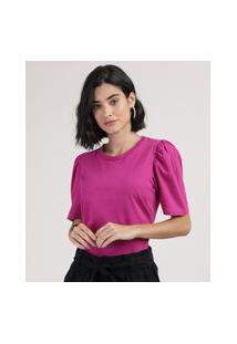 Blusa Feminina Básica Manga Bufante Decote Redondo Pink
