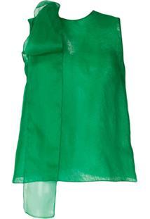 The 2Nd Skin Co. Blusa Com Laço De Organza - Verde