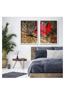 Quadro 65X90Cm Canadá Vermelho Sobre Tronco Moldura Branca Com Vidro