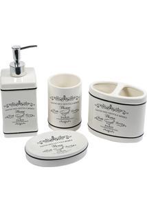 Kit De Acessórios Para Banheiro Paris Com 4 Peças Branco