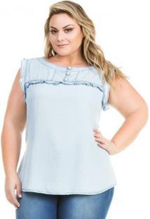 Regata Confidencial Extra Plus Size Jeans Com Babado Feminina - Feminino-Azul Claro