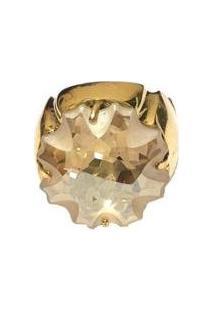 Anel Armazem Rr Bijoux Cristal Swarovski - Feminino-Dourado