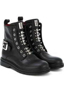 Cesare Paciotti Kids Ankle Boot De Couro - Preto