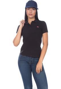 ... Camisa Polo Levis Feminina Classic Batwing Woman Preta Preto 059bc3b428b94