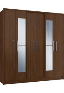 Guarda-Roupa Casal 6 Portas C/ Espelho 3 Gavetas Diamante Decibal Moveis Cacau