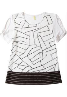 Blusa Com Estampa Geométrica Branco