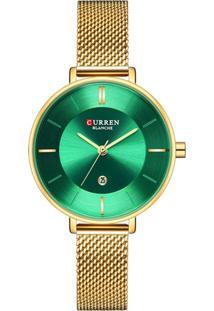 Relógio Curren Analógico C9037L Dourado E Verde