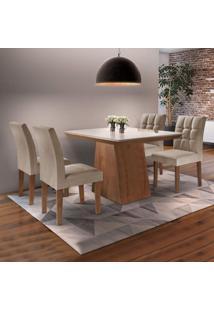 Conjunto Sala De Jantar Mesa Sevilha I Tampo De Vidro 4 Cadeiras Vitoria Siena Móveis Chocolate/Pena 84