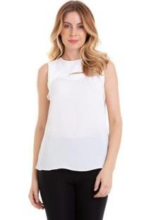 Blusa Regata Kinara Crepe Abertura No Busto Feminina - Feminino-Branco