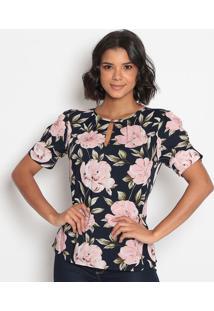 Blusa Floral Com Recortes & Fendas-Azul Escuro & Rosa