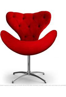 Cadeira Com Capitonê Decorativa Poltrona Egg Vermelha Com Base Giratória