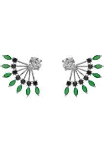 Brinco Ear Jacket The Ring Boutique Cristais Verde Esmeralda Zb Rã³Dio Ouro Branco - Verde - Feminino - Dafiti