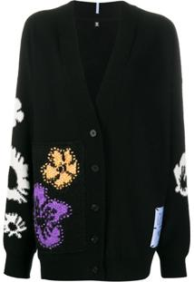 Mcq Cardigan Com Bordado Floral Genesis - Preto