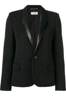 Saint Laurent Blazer Com Contraste - Preto