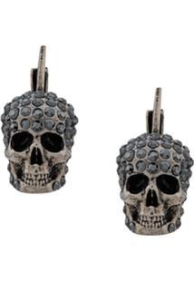 Alexander Mcqueen Pave Skull Stud Earrings - Prateado