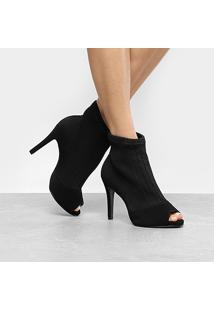 Ankle Boot Bebecê Salto Fino Malha - Feminino
