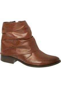 Ankle Boot Em Couro Chocolate Com Cano Enrugado