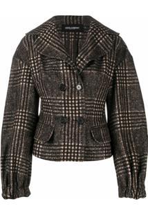 Dolce & Gabbana Jaqueta Xadrez De Tweed - Marrom