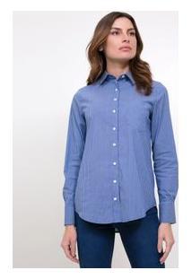 Camisa Listrada Com Bolso Frontal