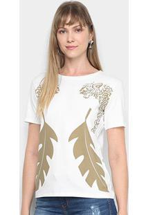 Camiseta Sommer Estampada Feminina - Feminino-Off White
