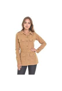 Jaqueta Parka Lemier Collection Sarja Com Cinto Color Bege