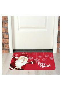 Tapete De Natal Para Porta Papai Noel Vermelho Único