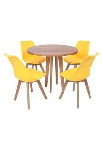 Conjunto Mesa De Jantar Em Madeira 90Cm Com Base Vértice + 4 Cadeiras Leda - Amarelo