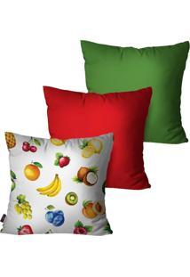 Kit Com 3 Capas Para Almofadas Pump Up Decorativas Branco Frutas 45X45Cm - Branco - Dafiti