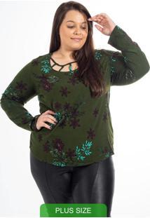 Blusa Plus Size Estampada Verde