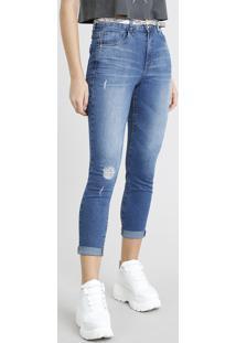 fe4553f3a R$ 99,99. CEA Calça Jeans Feminina Cropped Com Cinto Animal Print Azul Médio