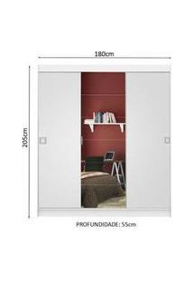 Guarda-Roupa Casal Madesa Veneza 3 Portas De Correr Central Com Espelho Branco Branco
