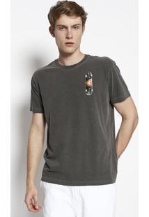 Camiseta Stone Skate - Cinza Escuro & Laranjaosklen