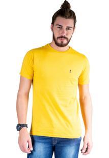 Camiseta Mister Fish Gola Careca Basic Top Hat Mostarda