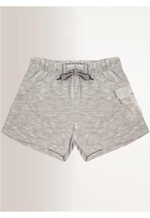 Shorts Moletom Aleatory Feminino - Feminino-Cinza