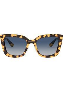 Miu Miu Eyewear Óculos De Sol Com Efeito Tartaruga - Marrom